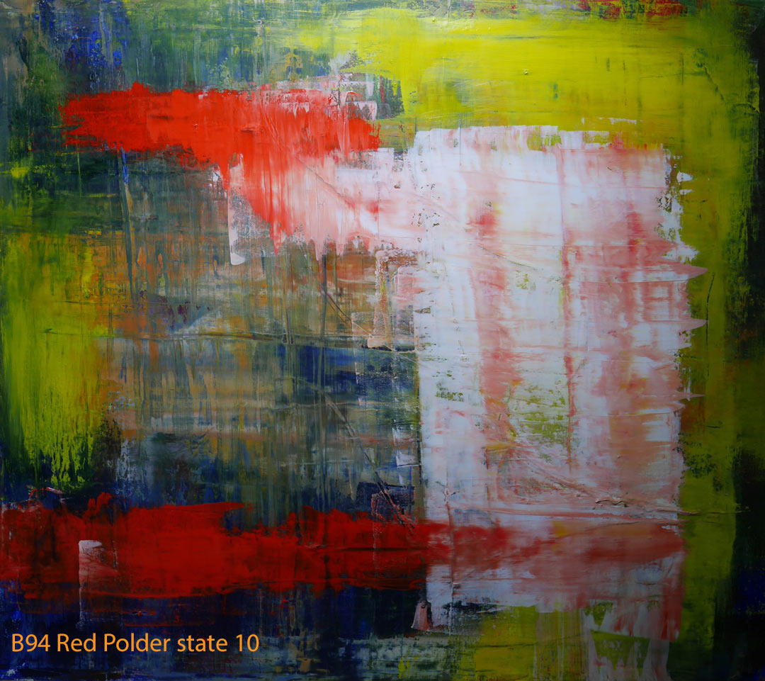 Abstract Oil Painting Red Polder by Paul Hollingsworth - Painting State 10 of 21