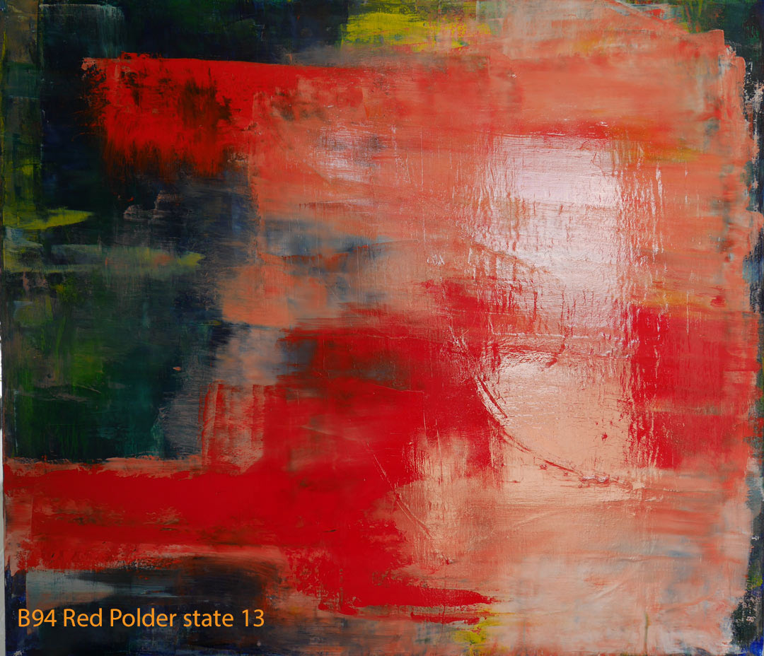 Abstract Oil Painting Red Polder by Paul Hollingsworth - Painting State 13 of 21