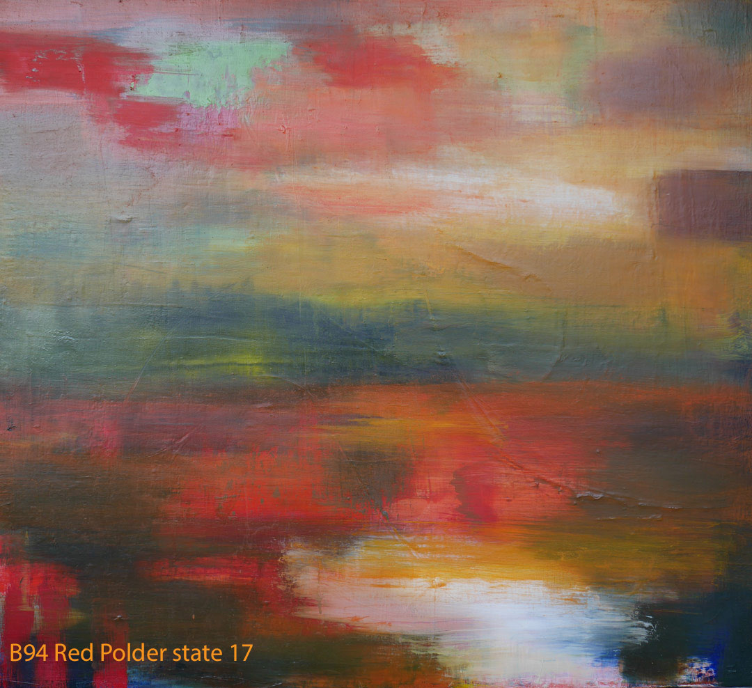Abstract Oil Painting Red Polder by Paul Hollingsworth - Painting State 17 of 20