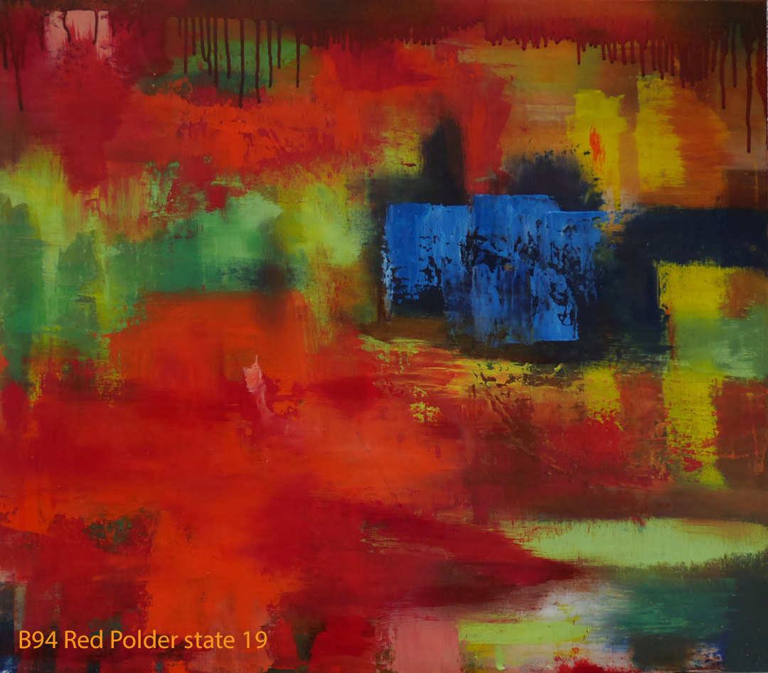Abstract Oil Painting Red Polder by Paul Hollingsworth - Painting State 19 of 20