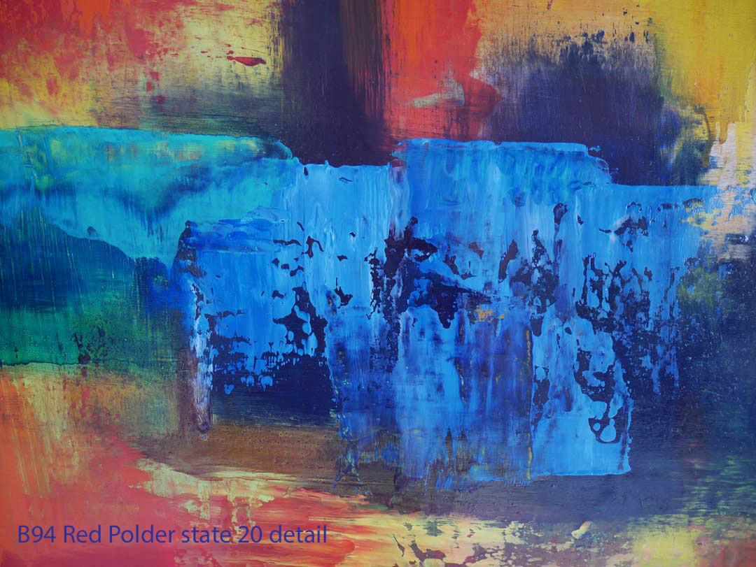 Abstract Oil Painting Red Polder by Paul Hollingsworth - Painting State 20 detail of 20