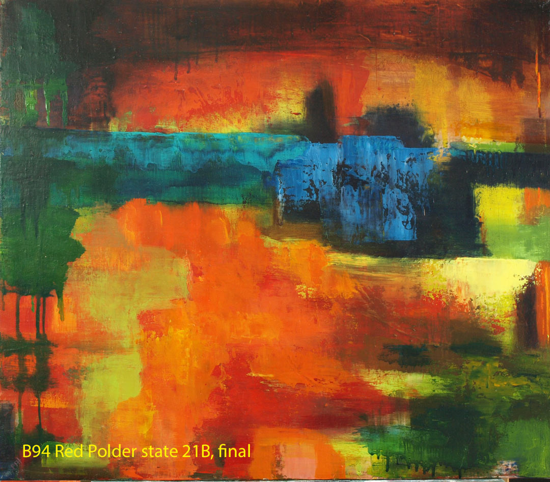 Abstract Oil Painting 'Red Polder' by Paul Hollingsworth