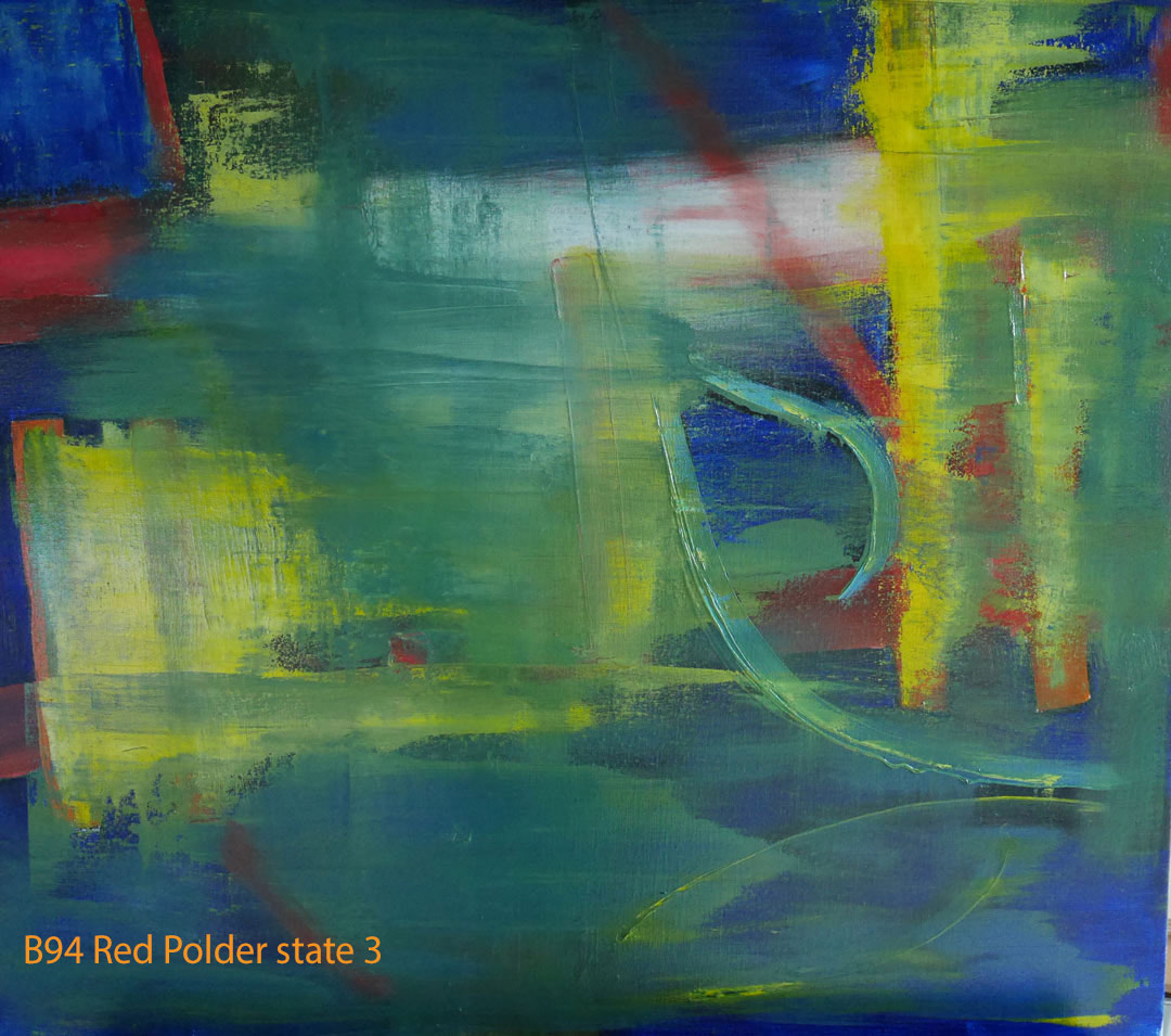 Abstract Oil Painting Red Polder by Paul Hollingsworth - Painting State 3 of 21