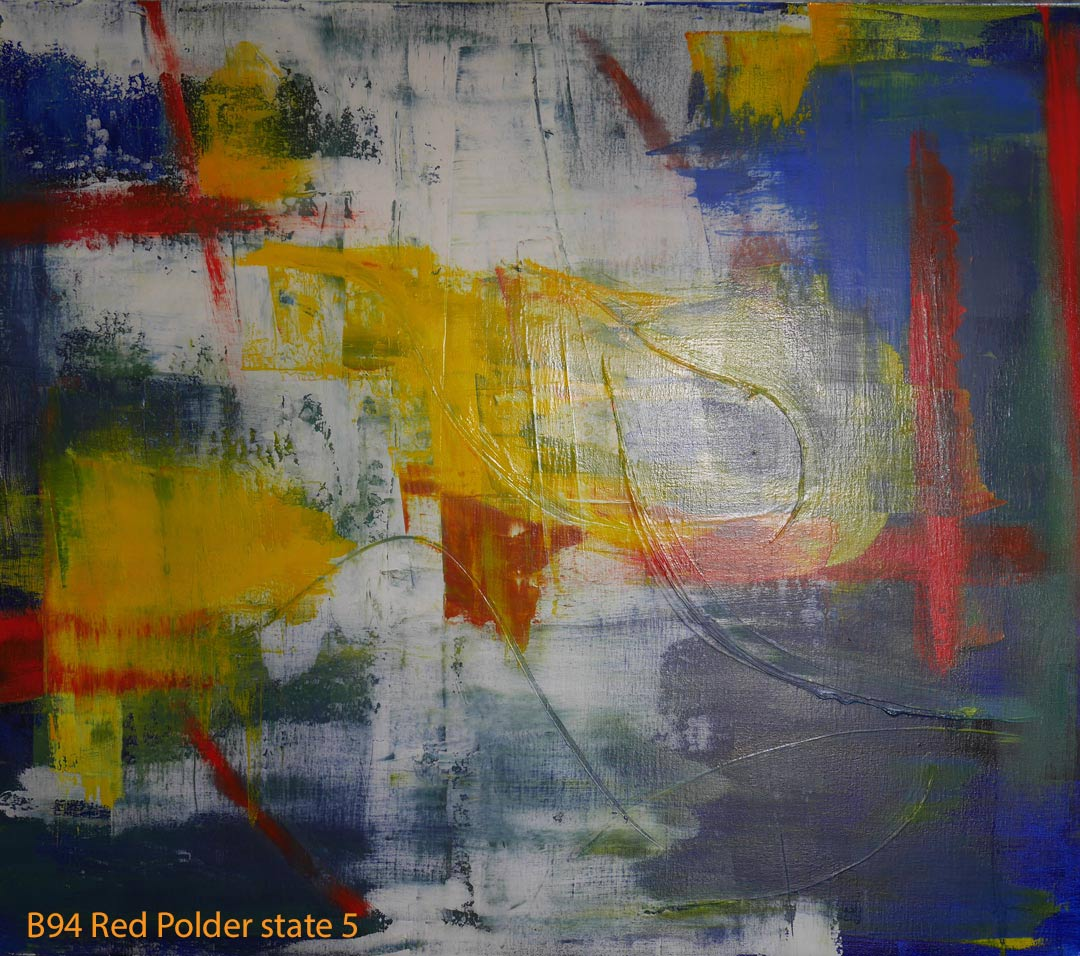 Abstract Oil Painting Red Polder by Paul Hollingsworth - Painting State 5 of 21