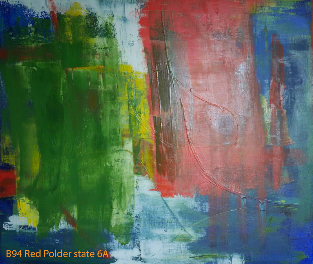 Abstract Oil Painting Red Polder by Paul Hollingsworth - Painting State 6A of 21