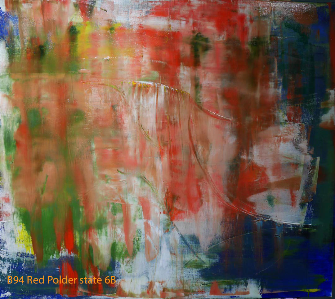 Abstract Oil Painting Red Polder by Paul Hollingsworth - Painting State 6B of 21