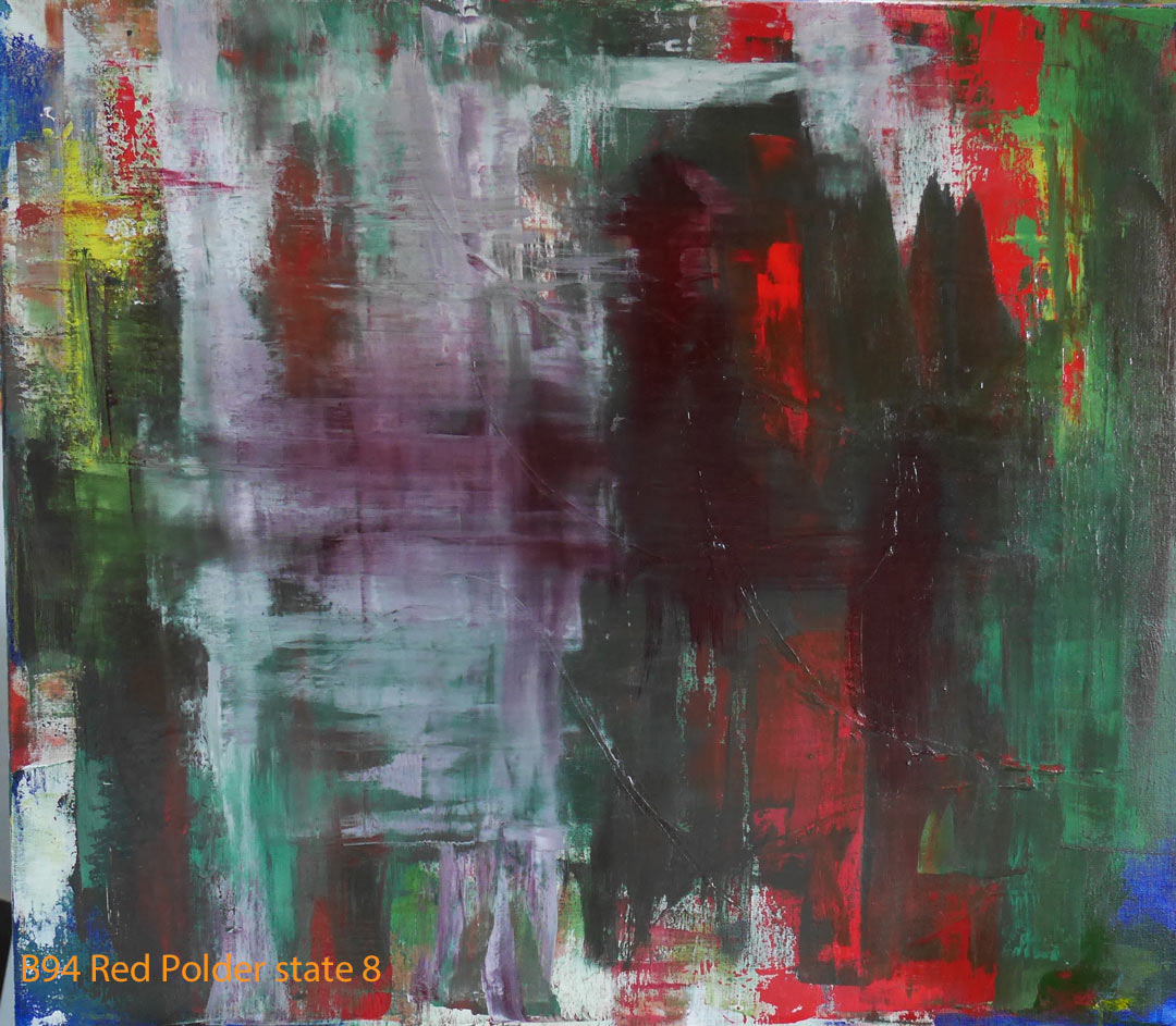 Abstract Oil Painting Red Polder by Paul Hollingsworth - Painting State 8 of 21