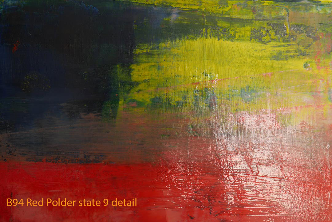Abstract Oil Painting Red Polder by Paul Hollingsworth - Painting State 9 detail of 21